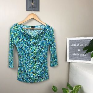 Ann Taylor XS Blue & Green 3/4 Sleeve Blouse